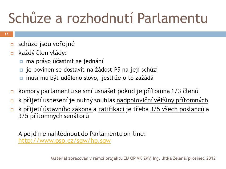 Schůze a rozhodnutí Parlamentu 11  schůze jsou veřejné  každý člen vlády:  má právo účastnit se jednání  je povinen se dostavit na žádost PS na je
