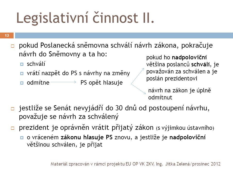 Legislativní činnost II. 13  pokud Poslanecká sněmovna schválí návrh zákona, pokračuje návrh do Sněmovny a ta ho:  schválí  vrátí nazpět do PS s ná
