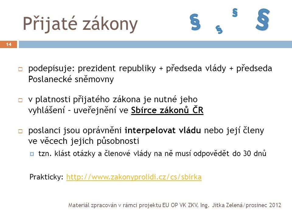 Přijaté zákony 14  podepisuje: prezident republiky + předseda vlády + předseda Poslanecké sněmovny  v platnosti přijatého zákona je nutné jeho vyhlá