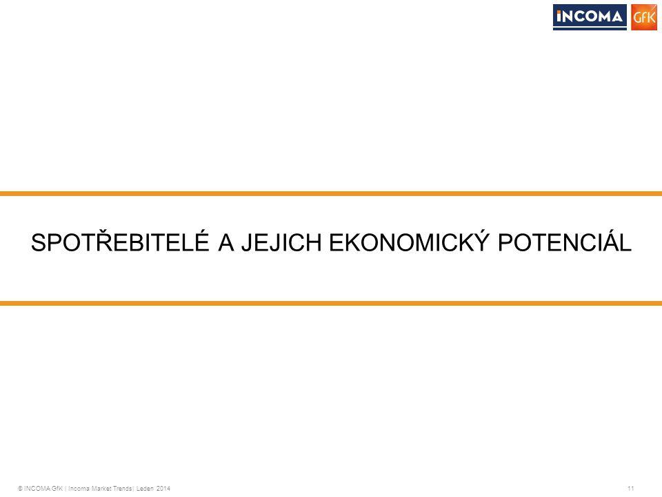 © INCOMA GfK | Incoma Market Trends| Leden 2014 11 SPOTŘEBITELÉ A JEJICH EKONOMICKÝ POTENCIÁL