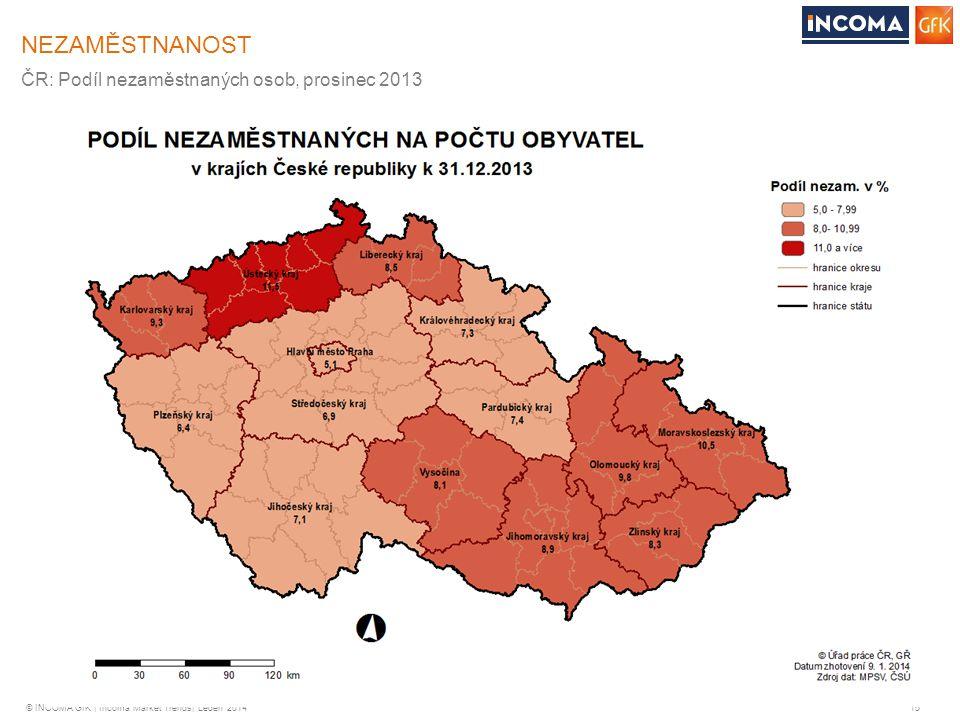 © INCOMA GfK | Incoma Market Trends| Leden 2014 15 NEZAMĚSTNANOST ČR: Podíl nezaměstnaných osob, prosinec 2013
