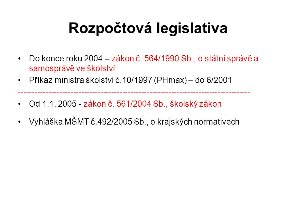 Aktuální předpisy pro stanovení normativního rozpočtu  Zákon č.