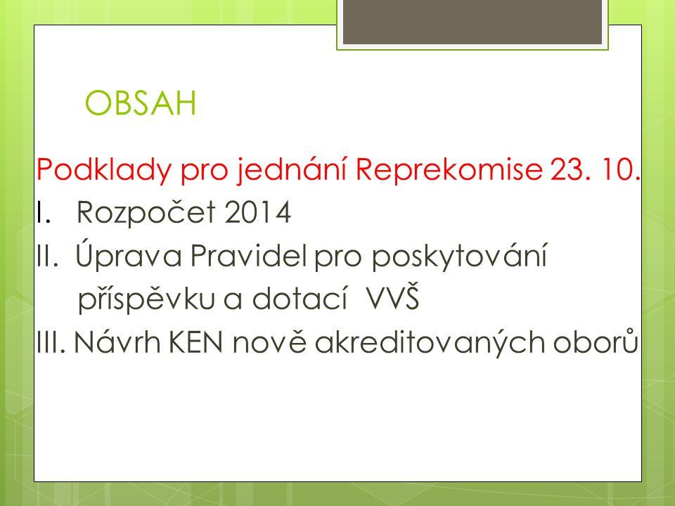 OBSAH Podklady pro jednání Reprekomise 23.10. I. Rozpočet 2014 II.