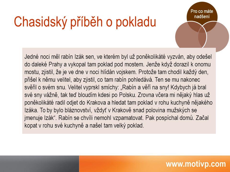 Pro co máte nadšení Chasidský příběh o pokladu Jedné noci měl rabín Izák sen, ve kterém byl už poněkolikáté vyzván, aby odešel do daleké Prahy a vykopal tam poklad pod mostem.