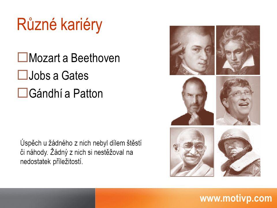 Různé kariéry  Mozart a Beethoven  Jobs a Gates  Gándhí a Patton Úspěch u žádného z nich nebyl dílem štěstí či náhody.
