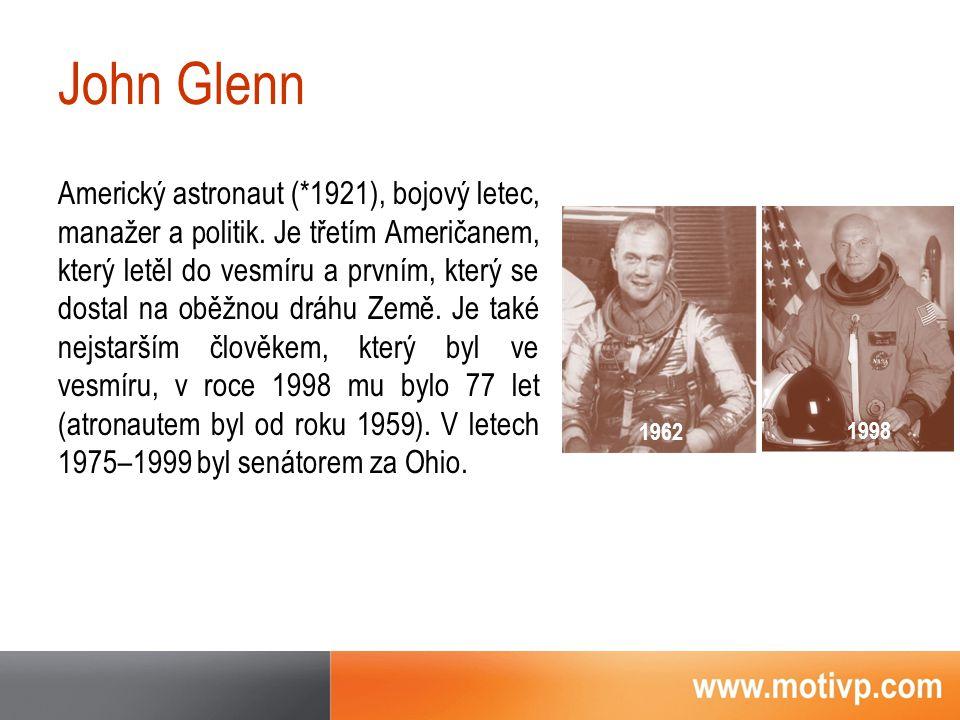 John Glenn Americký astronaut (*1921), bojový letec, manažer a politik.