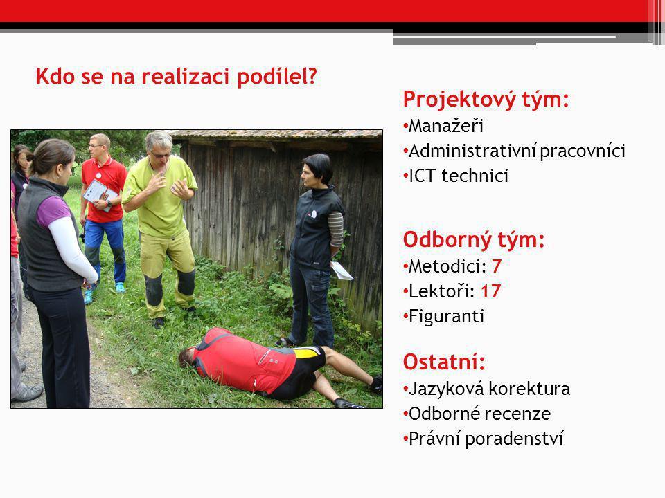 Kdo se na realizaci podílel? Projektový tým: • Manažeři • Administrativní pracovníci • ICT technici Odborný tým: • Metodici: 7 • Lektoři: 17 • Figuran
