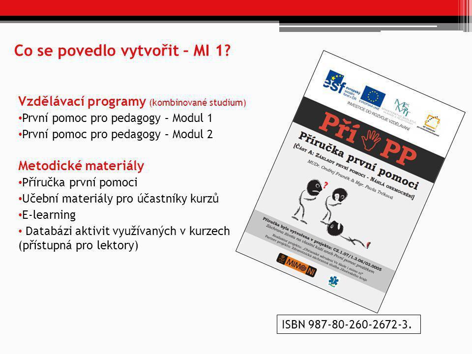 Co se povedlo vytvořit – MI 1? Vzdělávací programy (kombinované studium) • První pomoc pro pedagogy – Modul 1 • První pomoc pro pedagogy – Modul 2 Met