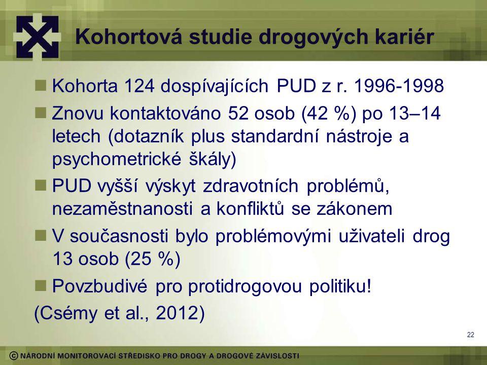 Kohortová studie drogových kariér  Kohorta 124 dospívajících PUD z r. 1996-1998  Znovu kontaktováno 52 osob (42 %) po 13–14 letech (dotazník plus st