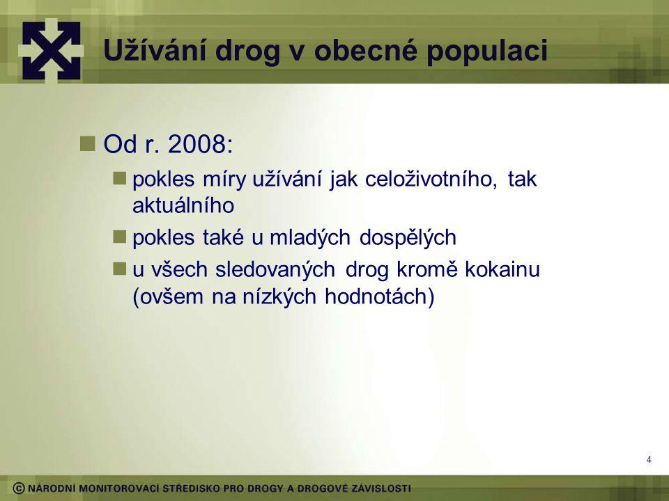 Obecná populace 2008-2012 (%) Drogy* Celopopulační studie 2008 Národní výzkum užívání návykových látek 2012 Celoživotní prevalence Prevalence v posledních 12 měsících Prevalence v posledních 30 dnech Celoživotní prevalence Prevalence v posledních 12 měsících Prevalence v posledních 30 dnech Konopné látky34,315,38,627,99,24,4 Extáze9,63,71,23,60,60,1 Pervitin4,31,70,72,50,50,2 Kokain2,00,70,42,30,40,1 Heroin1,10,50,10,60,20,1 LSD5,62,10,72,80,20,1 Halucinogenní houby 8,73,21,15,30,70,2 5