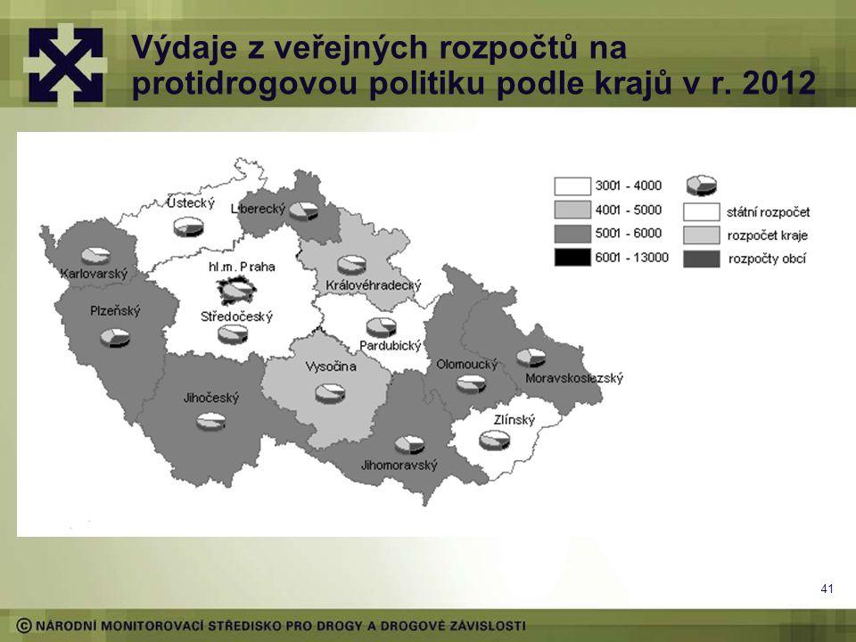 Výdaje z veřejných rozpočtů na protidrogovou politiku podle krajů v r. 2012 41