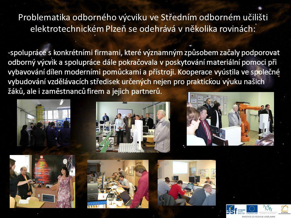 5 Problematika odborného výcviku ve Středním odborném učilišti elektrotechnickém Plzeň se odehrává v několika rovinách: -spolupráce s konkrétními firmami, které významným způsobem začaly podporovat odborný výcvik a spolupráce dále pokračovala v poskytování materiální pomoci při vybavování dílen moderními pomůckami a přístroji.