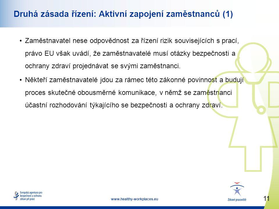 11 www.healthy-workplaces.eu Druhá zásada řízení: Aktivní zapojení zaměstnanců (1) •Zaměstnavatel nese odpovědnost za řízení rizik souvisejících s prací, právo EU však uvádí, že zaměstnavatelé musí otázky bezpečnosti a ochrany zdraví projednávat se svými zaměstnanci.