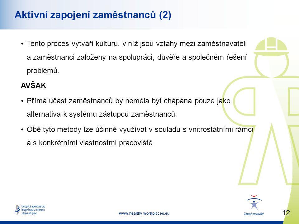 12 www.healthy-workplaces.eu Aktivní zapojení zaměstnanců (2) •Tento proces vytváří kulturu, v níž jsou vztahy mezi zaměstnavateli a zaměstnanci založeny na spolupráci, důvěře a společném řešení problémů.