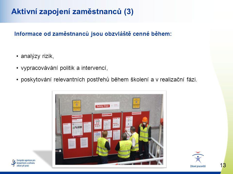 13 www.healthy-workplaces.eu Aktivní zapojení zaměstnanců (3) Informace od zaměstnanců jsou obzvláště cenné během: •analýzy rizik, •vypracovávání politik a intervencí, •poskytování relevantních postřehů během školení a v realizační fázi.