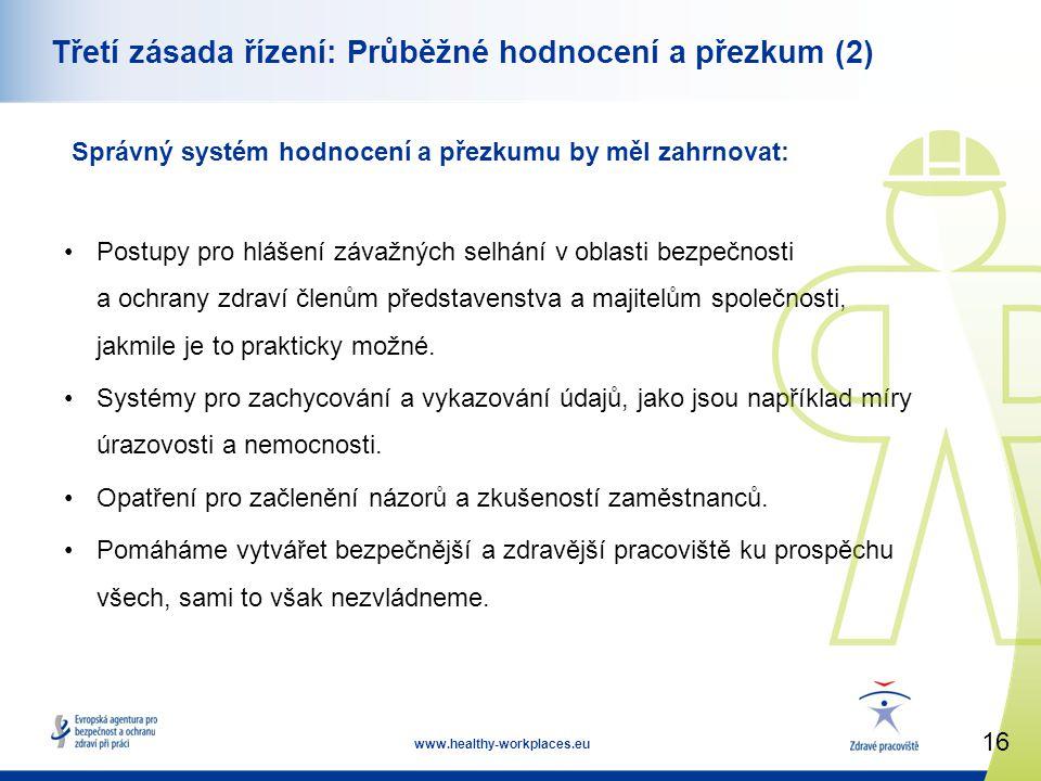 16 www.healthy-workplaces.eu Třetí zásada řízení: Průběžné hodnocení a přezkum (2) Správný systém hodnocení a přezkumu by měl zahrnovat: •Postupy pro hlášení závažných selhání v oblasti bezpečnosti a ochrany zdraví členům představenstva a majitelům společnosti, jakmile je to prakticky možné.
