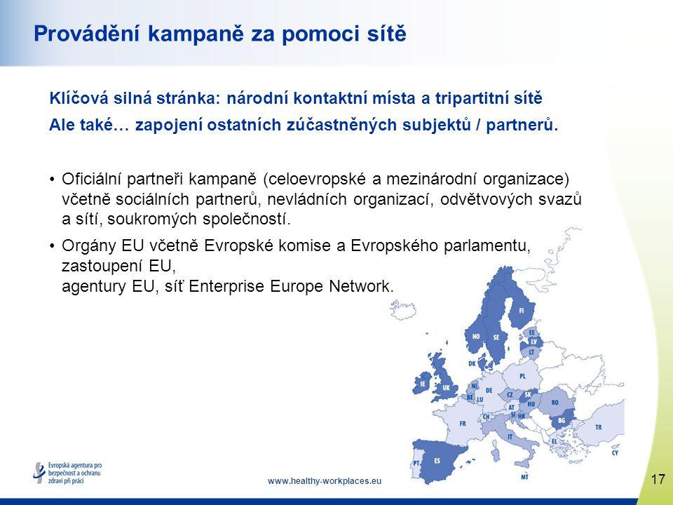 www.healthy-workplaces.eu Klíčová silná stránka: národní kontaktní místa a tripartitní sítě Ale také… zapojení ostatních zúčastněných subjektů / partnerů.