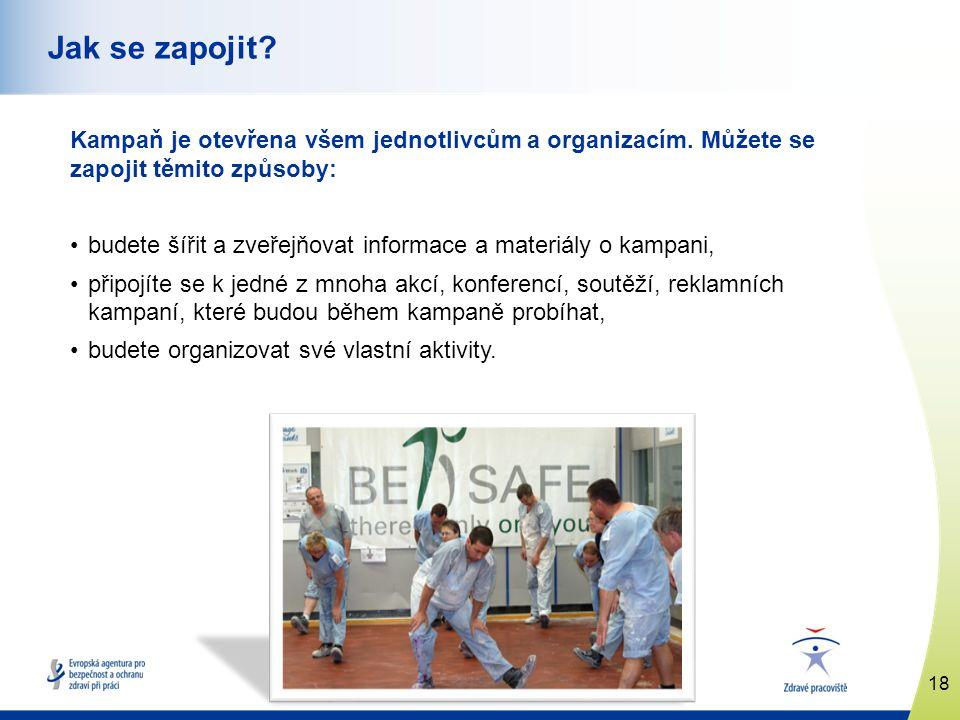 www.healthy-workplaces.eu Kampaň je otevřena všem jednotlivcům a organizacím. Můžete se zapojit těmito způsoby: •budete šířit a zveřejňovat informace