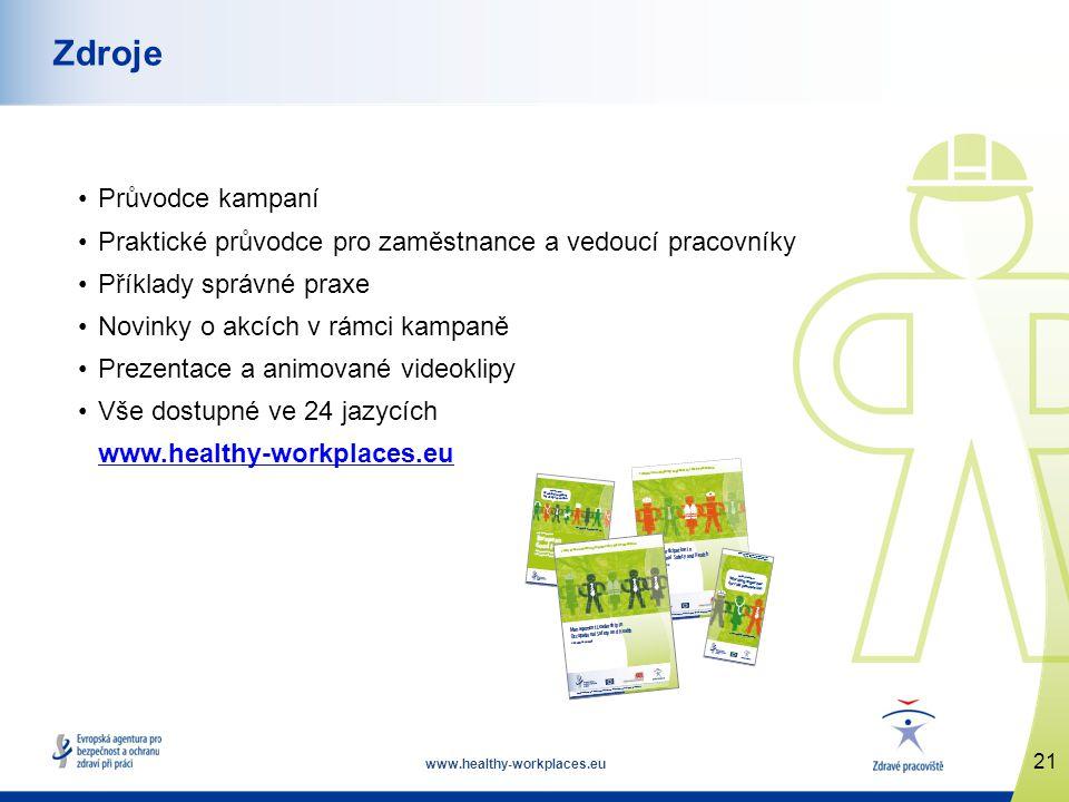 www.healthy-workplaces.eu •Průvodce kampaní •Praktické průvodce pro zaměstnance a vedoucí pracovníky •Příklady správné praxe •Novinky o akcích v rámci kampaně •Prezentace a animované videoklipy •Vše dostupné ve 24 jazycích www.healthy-workplaces.eu 21 Zdroje