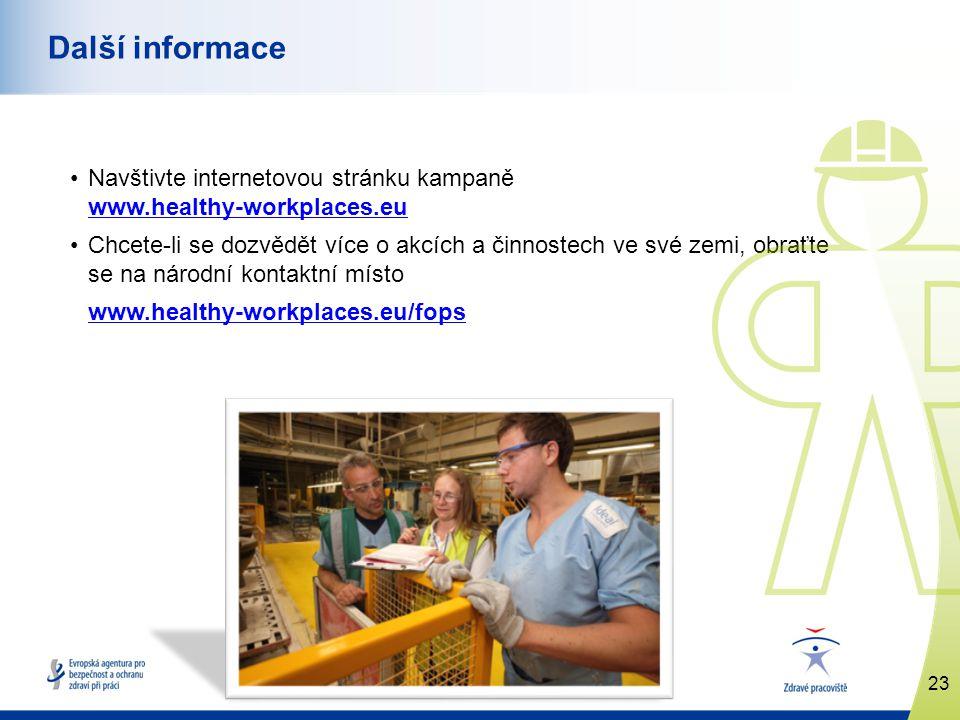 www.healthy-workplaces.eu •Navštivte internetovou stránku kampaně www.healthy-workplaces.eu www.healthy-workplaces.eu •Chcete-li se dozvědět více o akcích a činnostech ve své zemi, obraťte se na národní kontaktní místo www.healthy-workplaces.eu/fops 23 Další informace