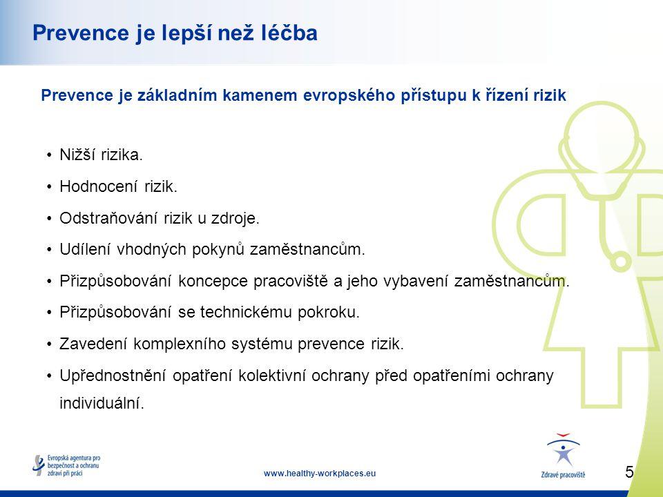 5 www.healthy-workplaces.eu Prevence je lepší než léčba Prevence je základním kamenem evropského přístupu k řízení rizik •Nižší rizika.