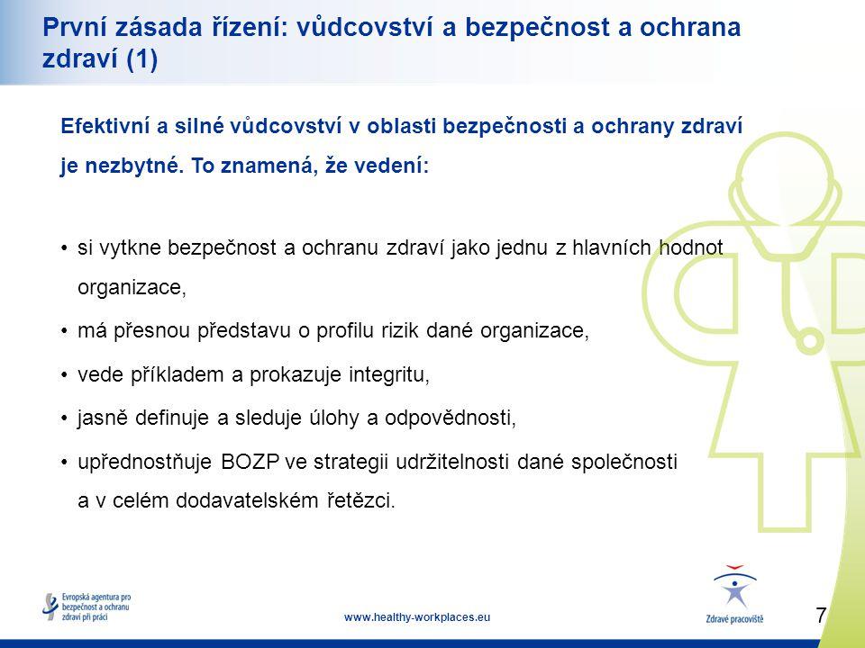 7 www.healthy-workplaces.eu První zásada řízení: vůdcovství a bezpečnost a ochrana zdraví (1) Efektivní a silné vůdcovství v oblasti bezpečnosti a ochrany zdraví je nezbytné.