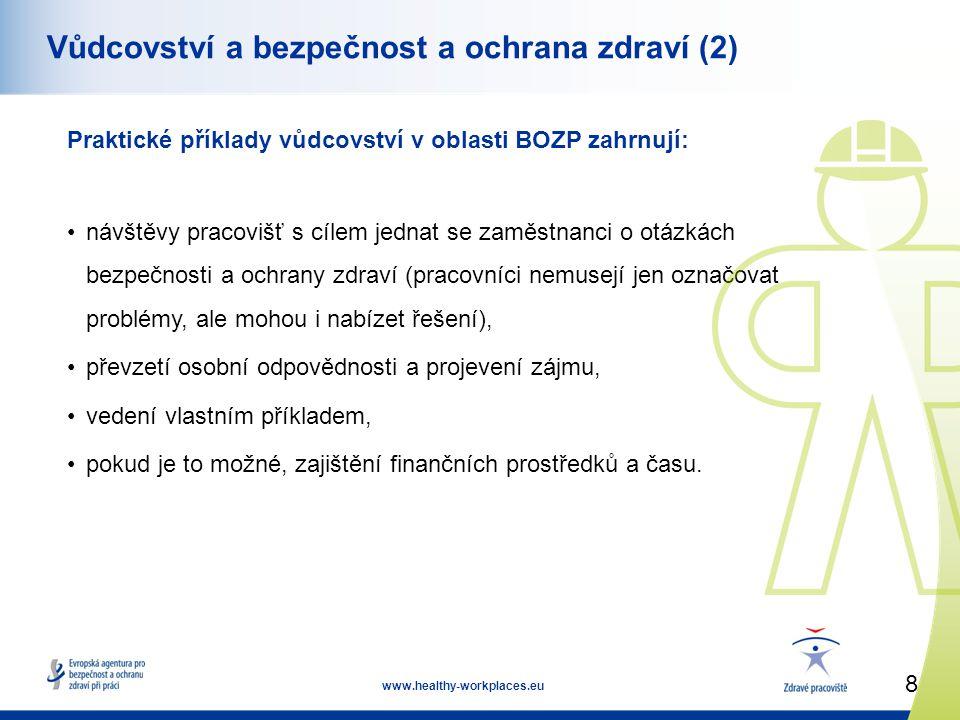 8 www.healthy-workplaces.eu Vůdcovství a bezpečnost a ochrana zdraví (2) Praktické příklady vůdcovství v oblasti BOZP zahrnují: •návštěvy pracovišť s cílem jednat se zaměstnanci o otázkách bezpečnosti a ochrany zdraví (pracovníci nemusejí jen označovat problémy, ale mohou i nabízet řešení), •převzetí osobní odpovědnosti a projevení zájmu, •vedení vlastním příkladem, •pokud je to možné, zajištění finančních prostředků a času.