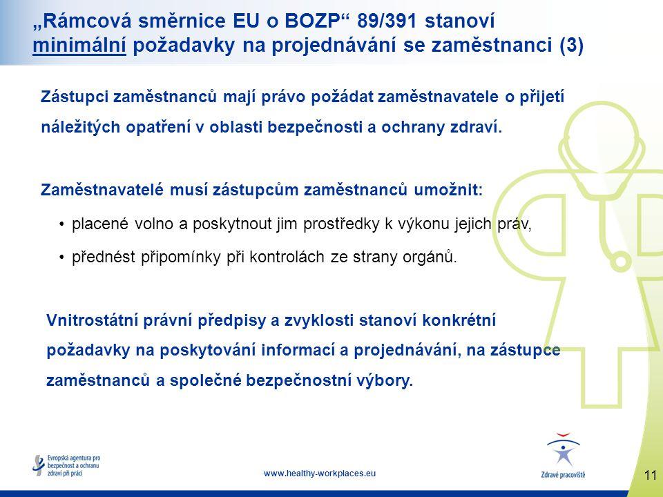 """11 www.healthy-workplaces.eu """"Rámcová směrnice EU o BOZP 89/391 stanoví minimální požadavky na projednávání se zaměstnanci (3) Zástupci zaměstnanců mají právo požádat zaměstnavatele o přijetí náležitých opatření v oblasti bezpečnosti a ochrany zdraví."""