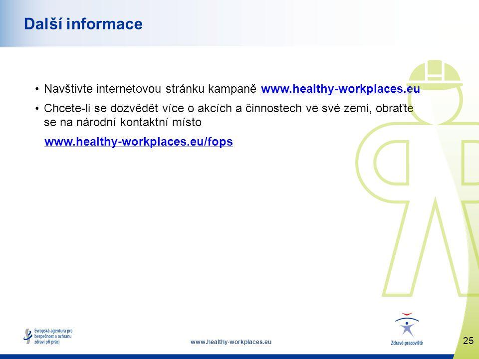 www.healthy-workplaces.eu •Navštivte internetovou stránku kampaně www.healthy-workplaces.euwww.healthy-workplaces.eu •Chcete-li se dozvědět více o akcích a činnostech ve své zemi, obraťte se na národní kontaktní místo www.healthy-workplaces.eu/fops 25 Další informace