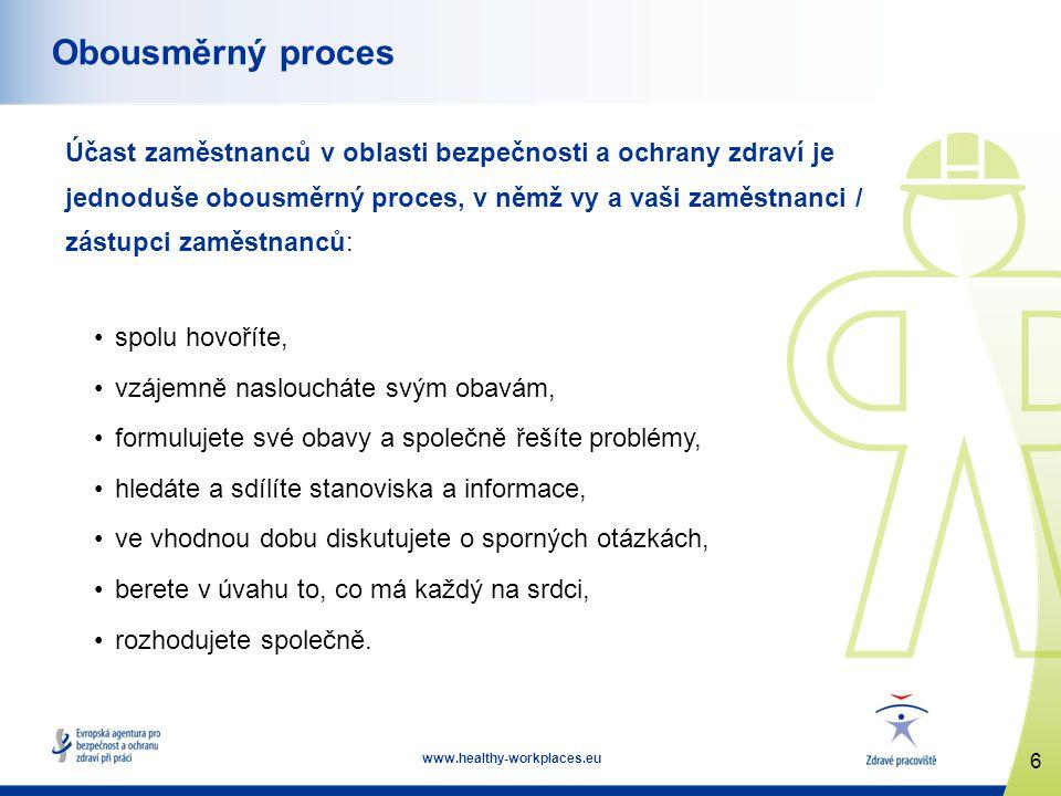 7 www.healthy-workplaces.eu Přínosy pro řízení bezpečnosti a ochrany zdraví Spolupráce se zaměstnanci poskytuje zaměstnavatelům nezbytnou pomoc při praktickém řízení oblasti bezpečnosti a ochrany zdraví prostřednictvím: •navyšování zdrojů, které mají k dispozici, •pomoci při určování rizik na pracovišti, •zajišťování praktické povahy kontrol v oblasti bezpečnosti a ochrany zdraví, •zvyšování míry angažovanosti při těchto kontrolách a při prosazování bezpečného a zdraví nepoškozujícího způsobu práce.