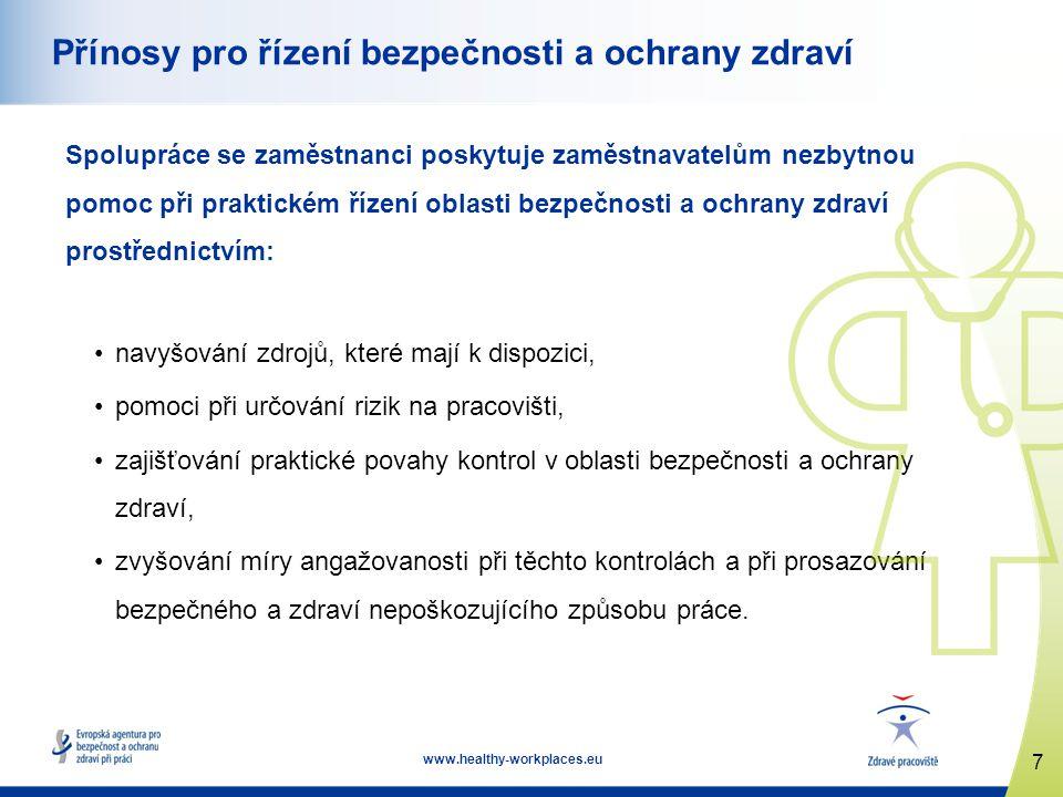18 www.healthy-workplaces.eu Závěr (2) Přínosy řádné účasti zaměstnanců: •nejlépe využívá znalosti všech, •přináší prospěch podniku v podobě nižší úrazovosti, •často vede ke zvýšené produktivitě, kvalitě a účinnosti, •silnější angažovanost zaměstnanců, •větší spolupráce, •společné řešení problémů.