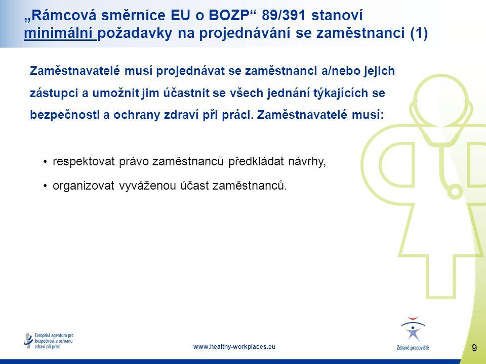 """10 www.healthy-workplaces.eu """"Rámcová směrnice EU o BOZP 89/391 stanoví minimální požadavky na projednávání se zaměstnanci (2) Se zaměstnanci musí být projednáno: •jakékoli opatření, které může mít podstatný vliv na bezpečnost a ochranu zdraví, •určení zaměstnanců odpovědných za činnosti v oblasti BOZP a přizvání externích služeb, •informace týkající se hodnocení rizik a skupin zaměstnanců vystavených rizikům, včetně projednávání těchto témat: •ochranná opatření, •seznam závažných úrazů a nehod, které musí být hlášeny úřadům, •školení zaměstnanců v oblasti BOZP."""