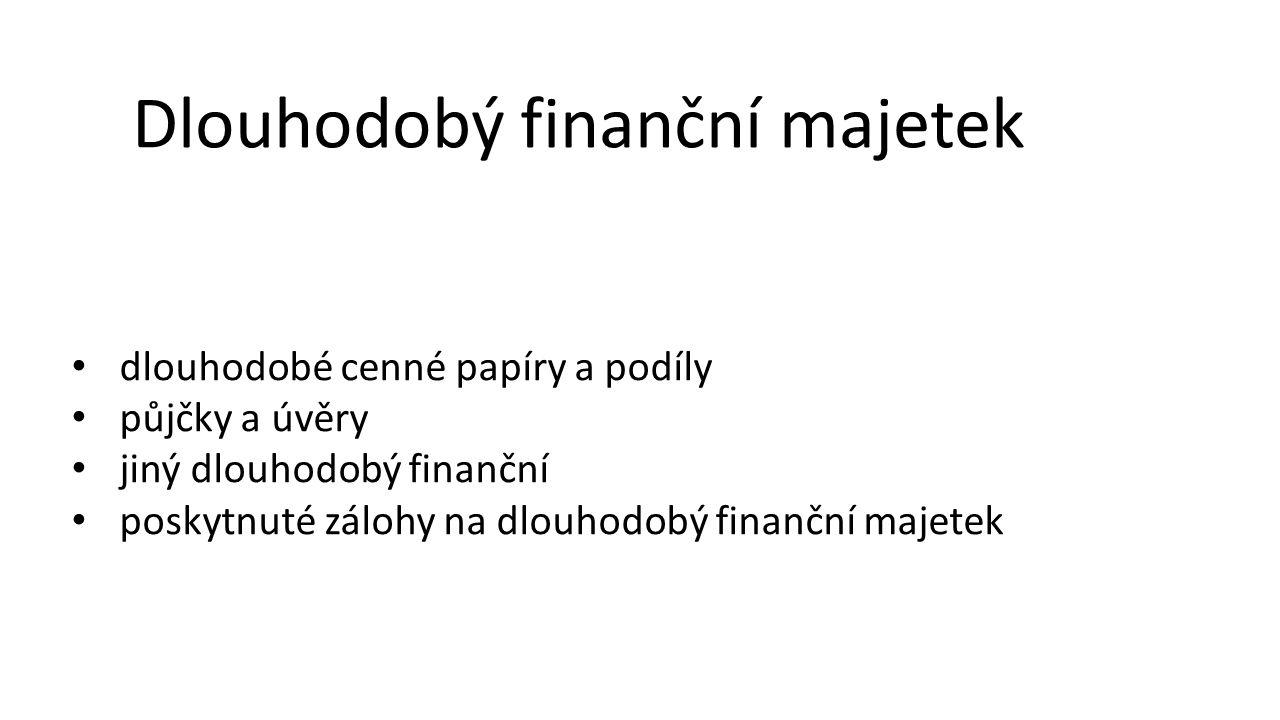 Dlouhodobý finanční majetek • dlouhodobé cenné papíry a podíly • půjčky a úvěry • jiný dlouhodobý finanční • poskytnuté zálohy na dlouhodobý finanční majetek