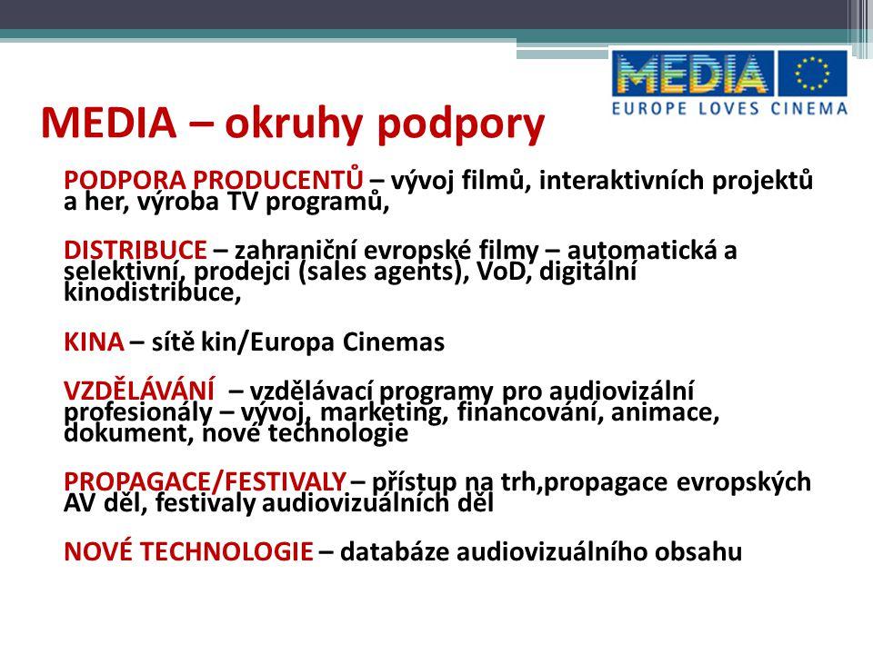 """MEDIA – NOVÉ PRÁCE S PUBLIKEM - filmové vzdělávání """"schopnost porozumět filmu a kriticky analyzovat jeho obsah, schopnost výběru filmu, používat filmovou řeč a technologie k jeho tvorbě – inovativní akce zaměřené na uvádění filmů mimo obvyklá místa – filmy oceněné na festivalech, filmové ceny EFA, Oscar atd."""