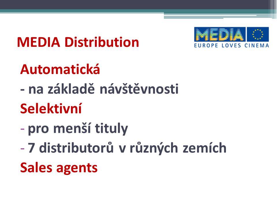 MEDIA Festivals 70 % filmů v programu ze zemí EU -práce s diváky i během roku a v dalších městech, oslovování jiných skupin publika MEDIA Market Access - koprodukce, prezentace námětů, trhy