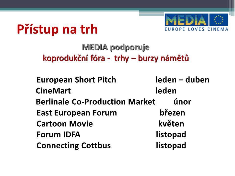 Stánky - pro nezávislé producenty zázemí - technická pomoc- prezentace materiálů – poradenství EFM Berlinale MIF Cannes MIPCOM MIP TV www.media-stands.eu PŘÍSTUP NA TRH