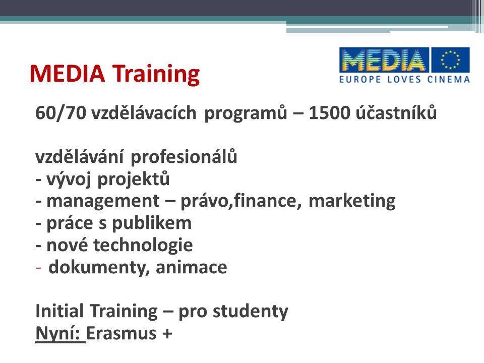 MEDIA Training  různé stupně a úrovně - MIDPOINT, MAIA, Ex Oriente, ACE, EAVE, FAS Screenleaders  stipendia pro účastníky  získání a udržení kontaktů  snazší vstup na trh