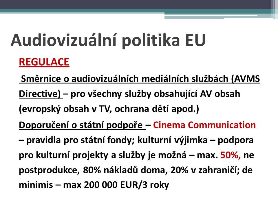 Audiovizuální politika EU PODPORA MEDIA -komplementarita k národním programům EXTERNÍ OPATŘENÍ -obrana zájmů EU ZVLÁŠTNÍ OPATŘENÍ - online distribuce, mediální gramotnost