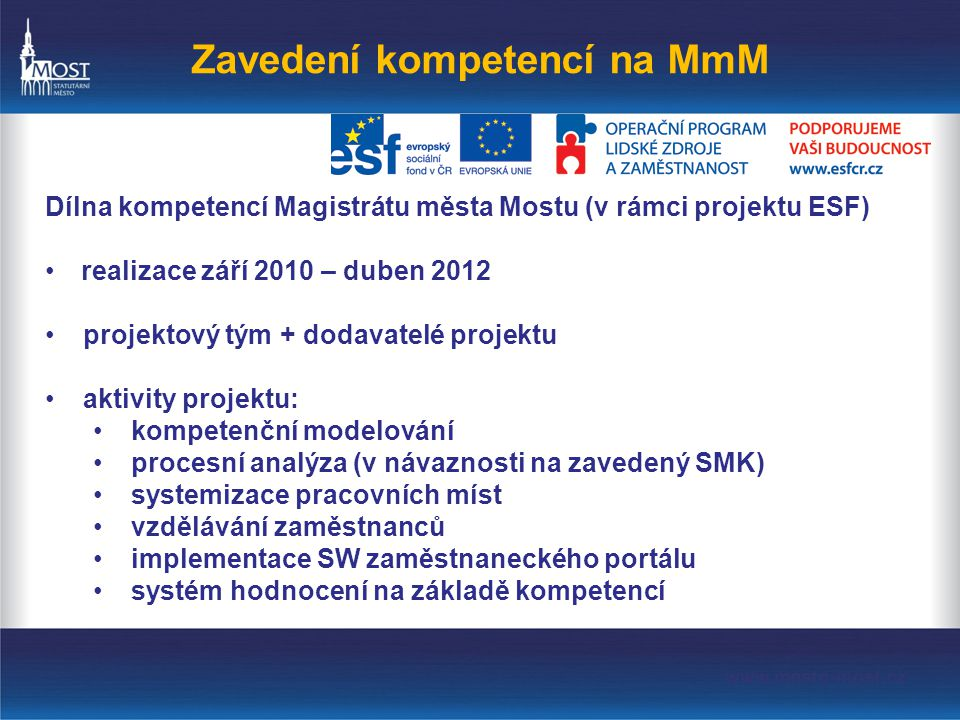 Zavedení kompetencí na MmM Dílna kompetencí Magistrátu města Mostu (v rámci projektu ESF) •realizace září 2010 – duben 2012 •projektový tým + dodavatelé projektu •aktivity projektu: •kompetenční modelování •procesní analýza (v návaznosti na zavedený SMK) •systemizace pracovních míst •vzdělávání zaměstnanců •implementace SW zaměstnaneckého portálu •systém hodnocení na základě kompetencí