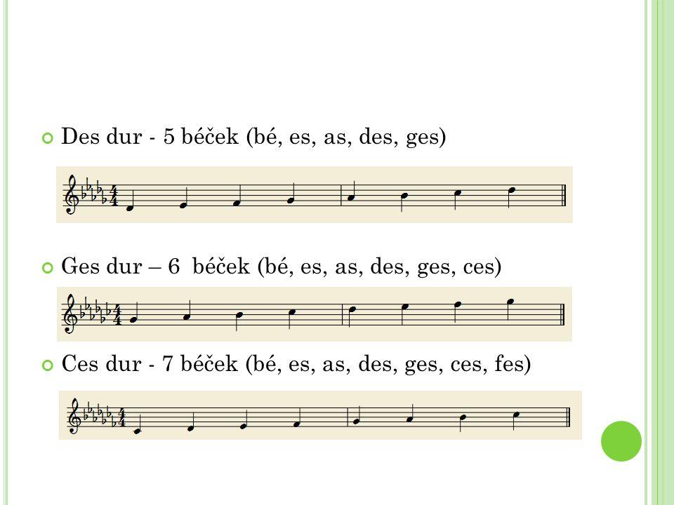 Des dur - 5 béček (bé, es, as, des, ges) Ges dur – 6 béček (bé, es, as, des, ges, ces) Ces dur - 7 béček (bé, es, as, des, ges, ces, fes)
