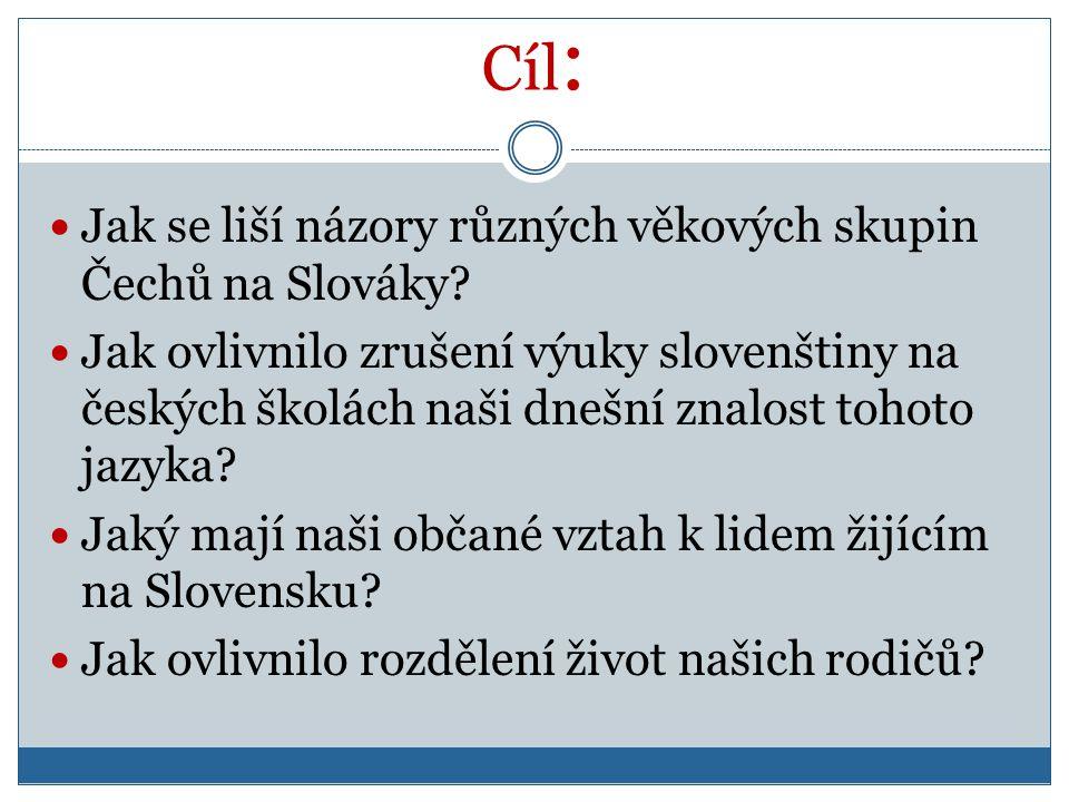 Cíl :  Jak se liší názory různých věkových skupin Čechů na Slováky?  Jak ovlivnilo zrušení výuky slovenštiny na českých školách naši dnešní znalost
