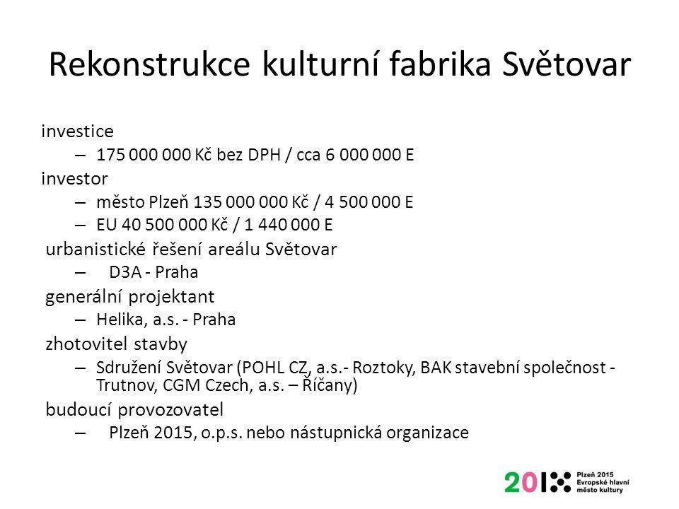 Rekonstrukce kulturní fabrika Světovar investice – 175 000 000 Kč bez DPH / cca 6 000 000 E investor – město Plzeň 135 000 000 Kč / 4 500 000 E – EU 4