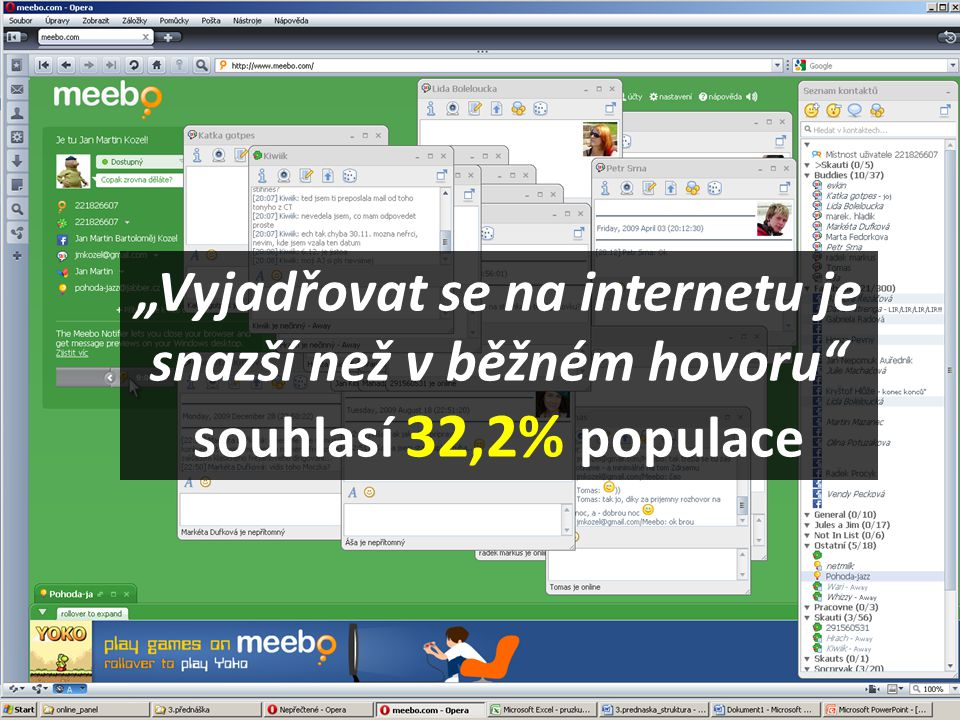 """""""Vyjadřovat se na internetu je snazší než v běžném hovoru souhlasí 32,2% populace"""