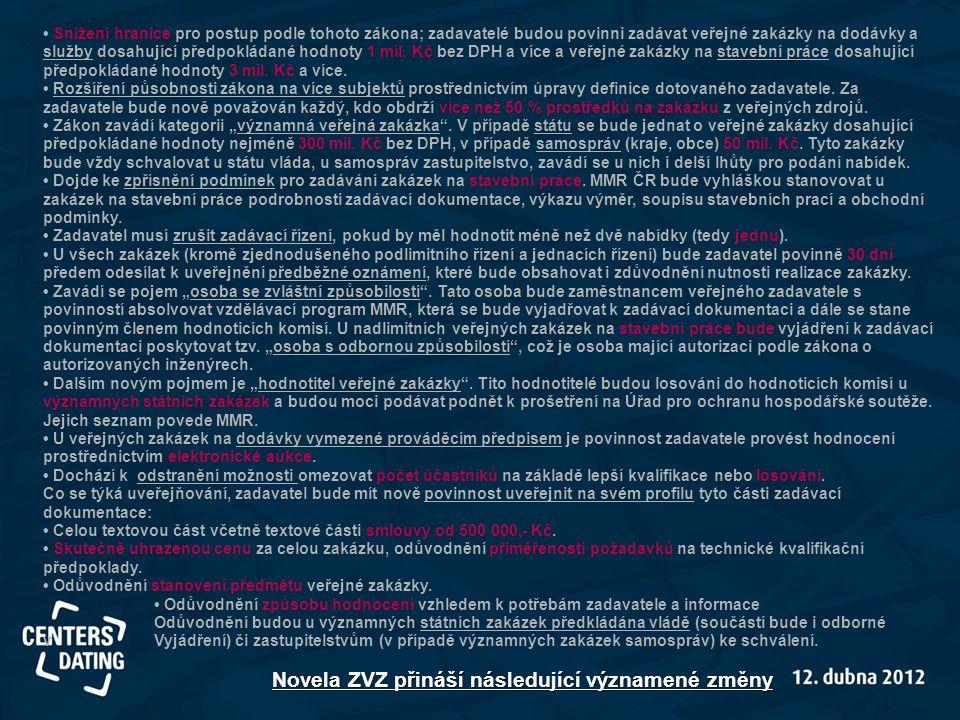 Novela ZVZ přináší následující významené změny • Snížení hranice pro postup podle tohoto zákona; zadavatelé budou povinni zadávat veřejné zakázky na d
