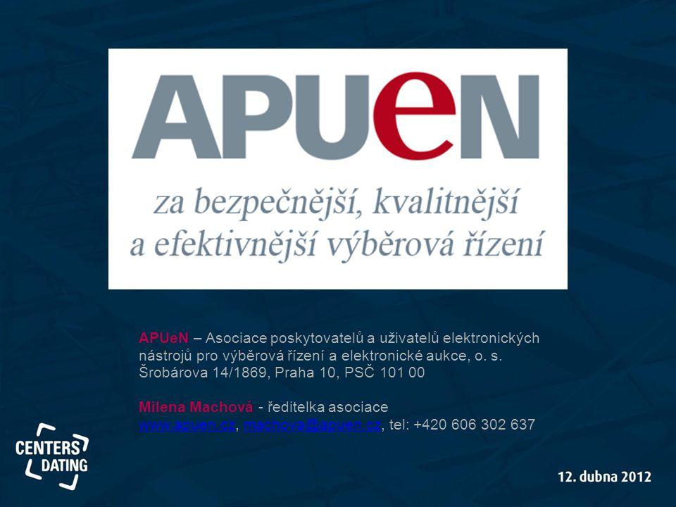 APUeN – Asociace poskytovatelů a uživatelů elektronických nástrojů pro výběrová řízení a elektronické aukce, o. s. Šrobárova 14/1869, Praha 10, PSČ 10