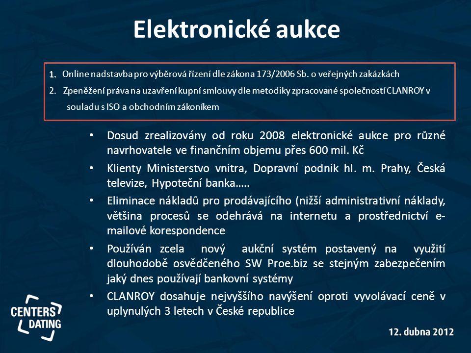 • Dosud zrealizovány od roku 2008 elektronické aukce pro různé navrhovatele ve finančním objemu přes 600 mil. Kč • Klienty Ministerstvo vnitra, Doprav