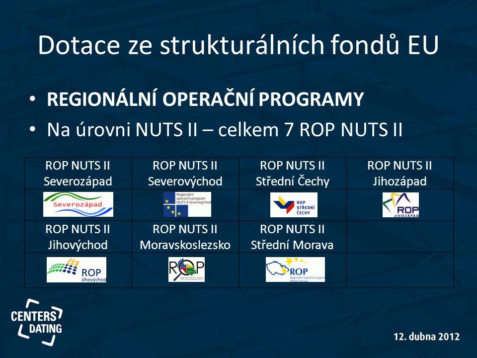 Dotace ze strukturálních fondů EU • REGIONÁLNÍ OPERAČNÍ PROGRAMY • Na úrovni NUTS II – celkem 7 ROP NUTS II ROP NUTS II Severozápad ROP NUTS II Severo