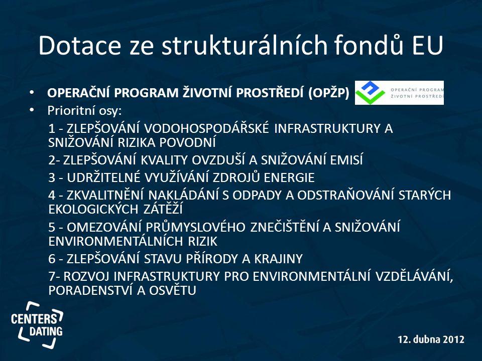 Dotace ze strukturálních fondů EU • OPERAČNÍ PROGRAM ŽIVOTNÍ PROSTŘEDÍ (OPŽP) • Prioritní osy: 1 - ZLEPŠOVÁNÍ VODOHOSPODÁŘSKÉ INFRASTRUKTURY A SNIŽOVÁ