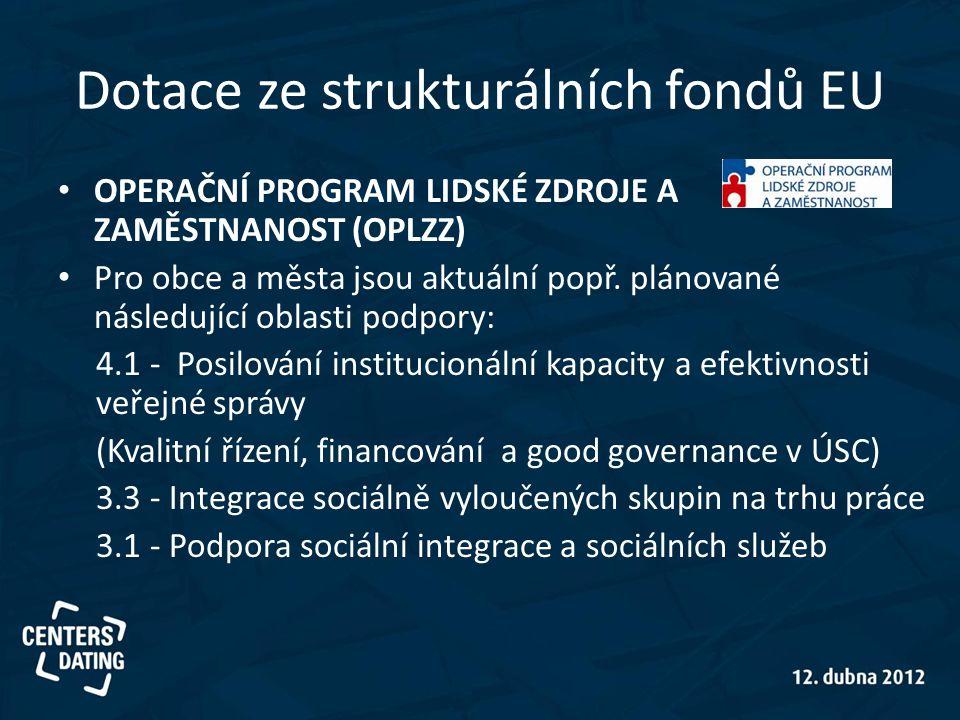 Dotace ze strukturálních fondů EU • OPERAČNÍ PROGRAM LIDSKÉ ZDROJE A ZAMĚSTNANOST (OPLZZ) • Pro obce a města jsou aktuální popř. plánované následující