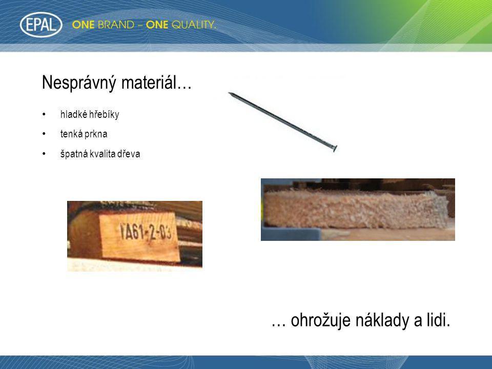 Nesprávný materiál… • hladké hřebíky • tenká prkna • špatná kvalita dřeva … ohrožuje náklady a lidi.